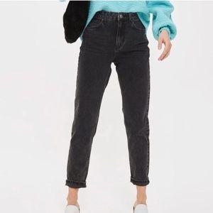 Topshop Moto Black Faded Mom Jeans 25